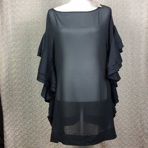 Ted Baker Gray Rufffle Square Cover Up Size S